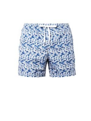 3D block-print swim shorts