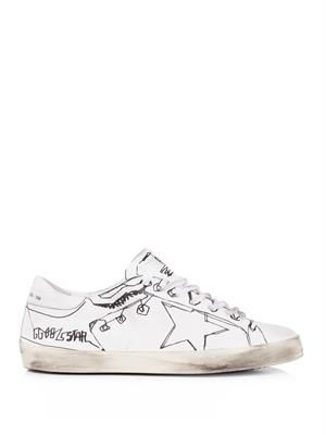 Illustrated leather trainers