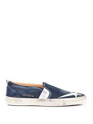 Seastar distressed leather slip-on trainers