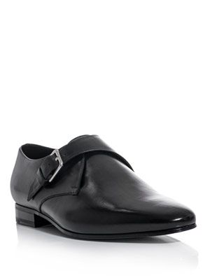 Monk strap leather slip-shoes