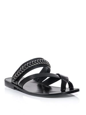Chain and leather sandals