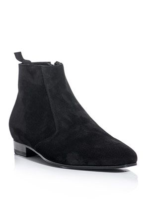 Suede zip-up boots