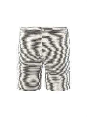Striped cotton-jersey shorts