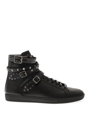 Signature Court studded leather trainers