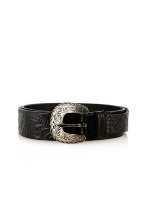 Western embossed leather belt
