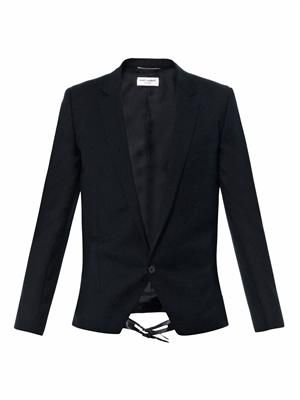 Leather-strap wool-crepe blazer