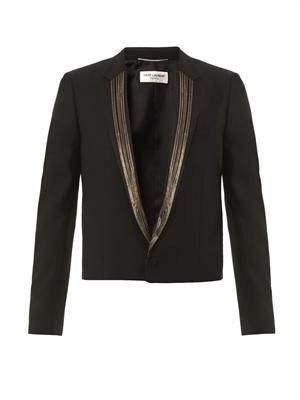 Chain-lapel wool blazer