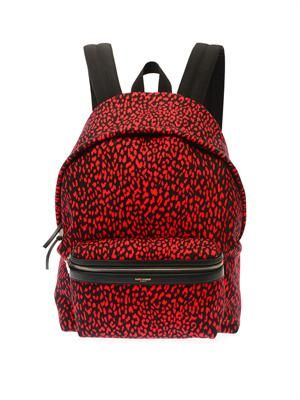 Baby cat-print canvas backpack