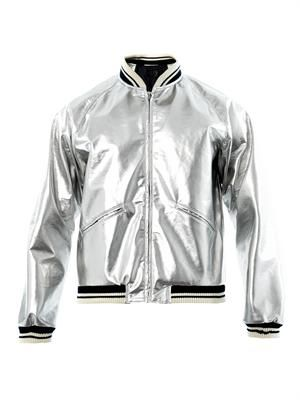 Metallic varsity jacket