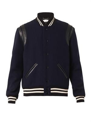 Wool-twill and leather Varsity jacket