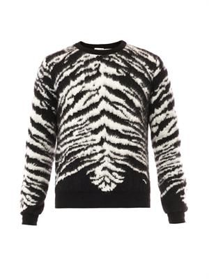 Tiger-intarsia mohair-blend sweater