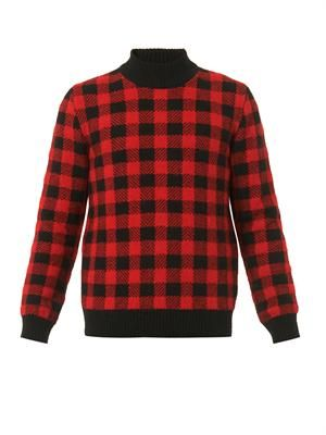Checked high-neck sweater
