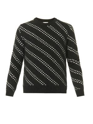 Dot-stripe crew-neck sweater