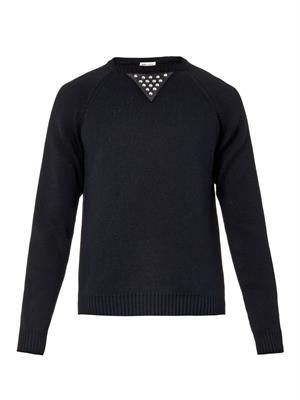 Contrast-panel cotton-blend sweater
