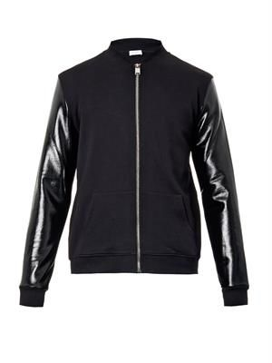 Contrast-sleeve jersey bomber jacket