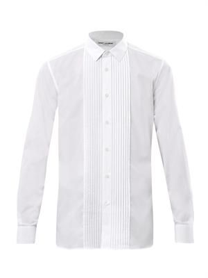 Pleat front dress shirt