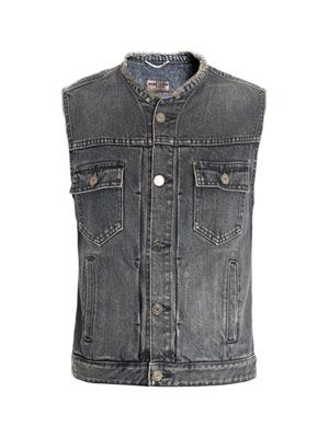 Fringe collarless denim gilet