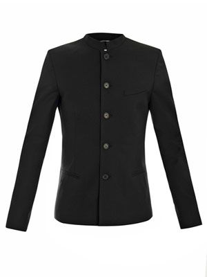 Gabardine de Laine collarless jacket