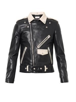 Bi-colour leather biker jacket