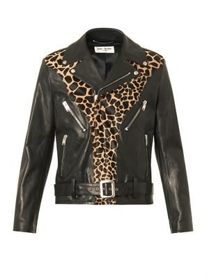 Leather and calf-hair biker jacket