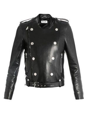 Perfector double-breasted leather jacket