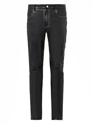 Studded leather trousers