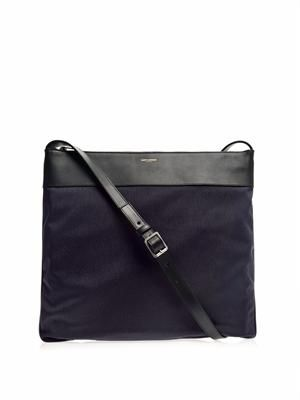 Leather-trimmed canvas messenger