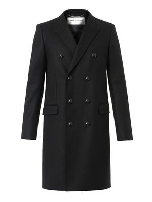Classic black wool-blend caban coat