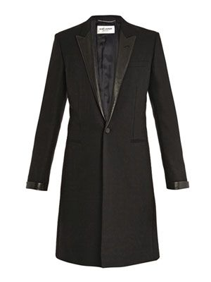 Matt lane leather lapel coat