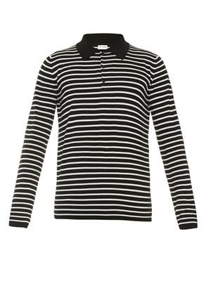 Striped fine-knit wool polo shirt