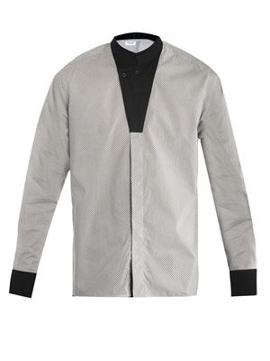 Micro-square modern collar shirt
