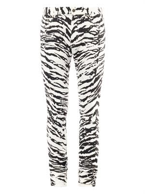 Zebra-print five-pocket skinny jeans