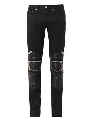 Leather and denim skinny biker jeans