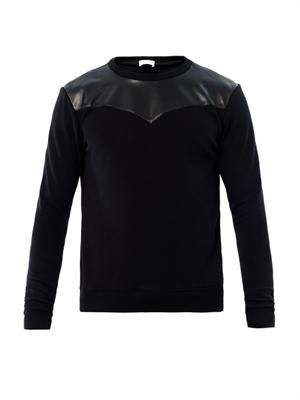 Leather panel sweatshirt