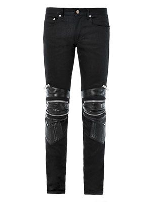 Leather and denim biker jeans