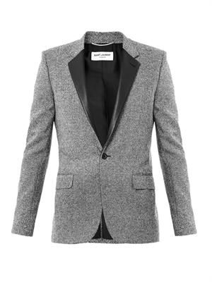 Leather lapel tweed jacket