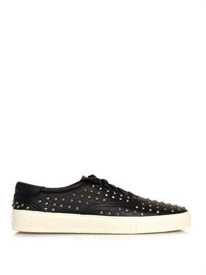 Skate studded leather trainers