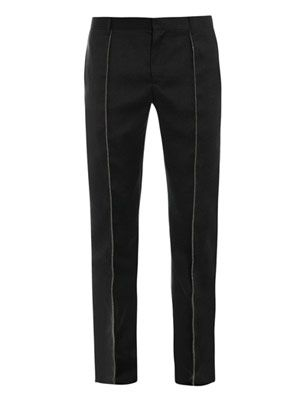 Embellished slim wool trousers