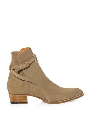 Suede wrap-around ankle strap boots