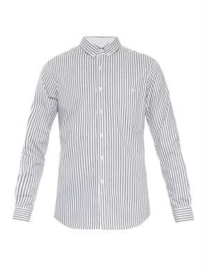 Ticking-stripe cotton-twill shirt