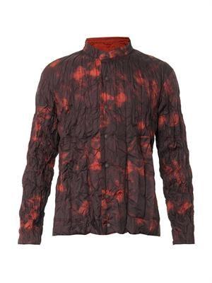Tie-dye crinkle-nylon reversible jacket