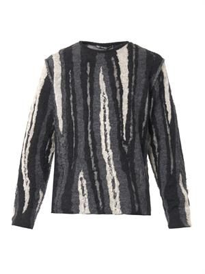 Mohair-blend stripe-knit sweater