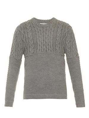 Aran-knit crew-neck sweater
