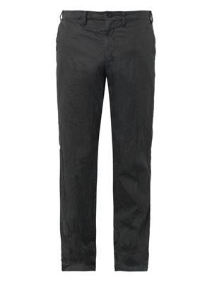 Crinkle-effect cotton-blend trousers