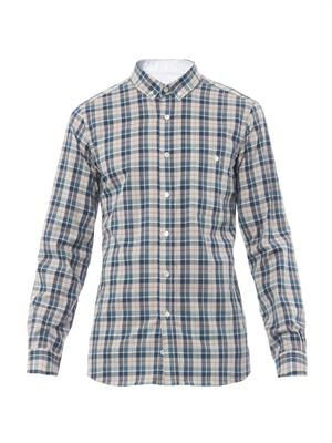 Buttoned-collar picnic-check shirt