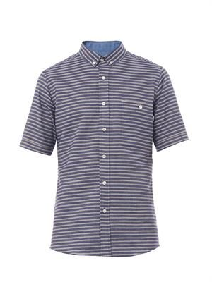 Buttoned-collar striped cotton shirt