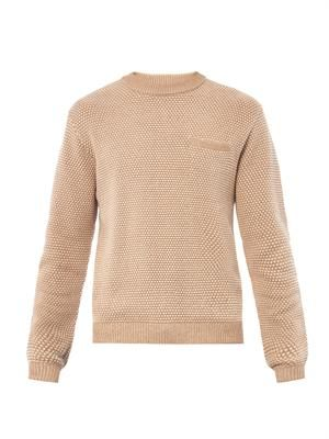 Seed-stitch knitted cotton sweater