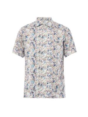 Blossom-print short-sleeved shirt