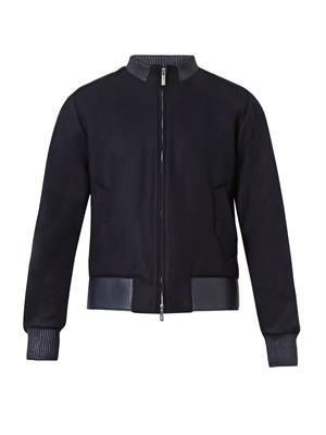 Leather-trim bomber jacket