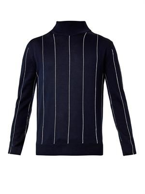 Stitched-stripe high-neck sweater